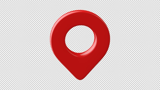 Red glossy map pin isolated 3d rendering