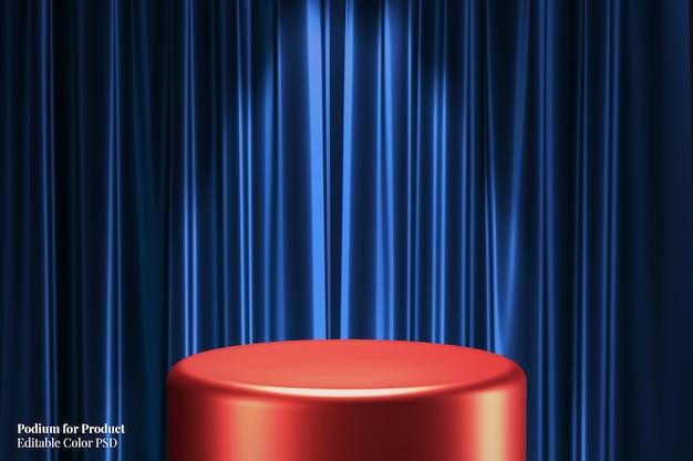 Красный глянцевый металлический круглый постамент витрины продукта 3d-рендеринг