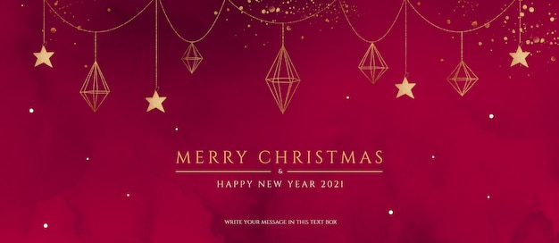 Banner di natale rosso e dorato con ornamenti eleganti