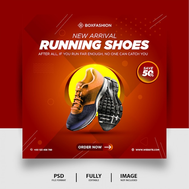Red gradient color running shoes brand product social media post banner