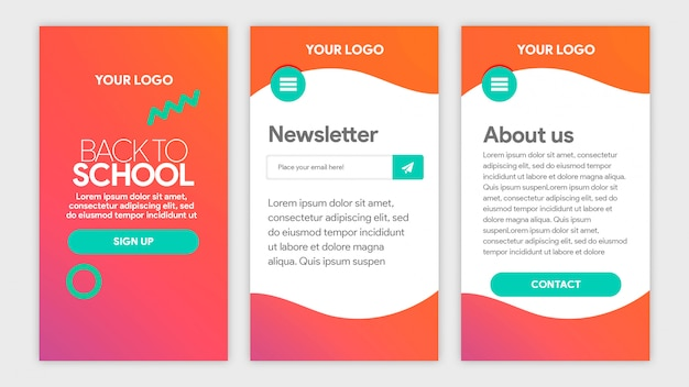 Red gradient template app back to school