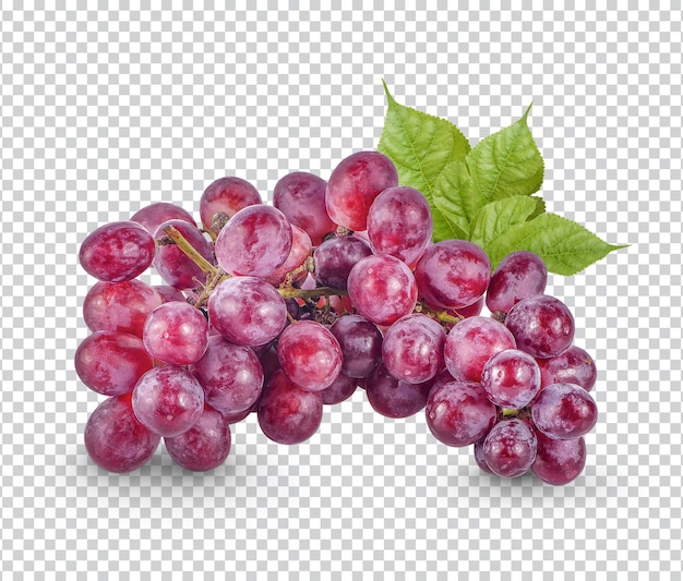 Red grape with leaves isolated