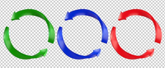 Red, green, blue twist refresh arrow page symbol