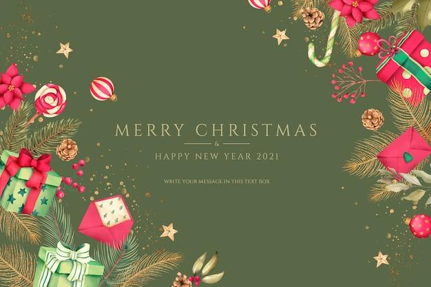 Sfondo di natale rosso e verde con regali e ornamenti