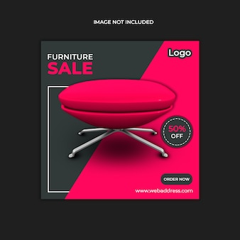 Red and grey color furniture sale template