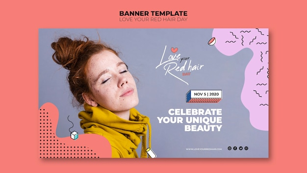 Red hair day concept banner template
