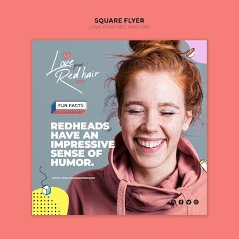 Красные волосы день концепция квадратный флаер шаблон