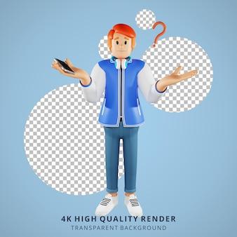 Красные волосы молодые люди ничего не знают 3d иллюстрации персонажей
