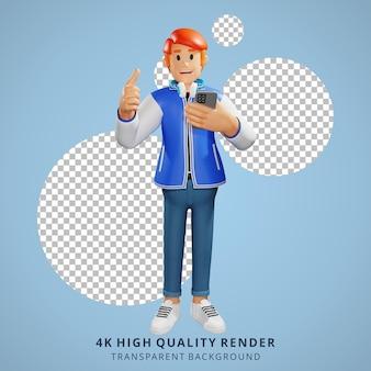 Молодые люди с красными волосами подумали о 3d-иллюстрации персонажей
