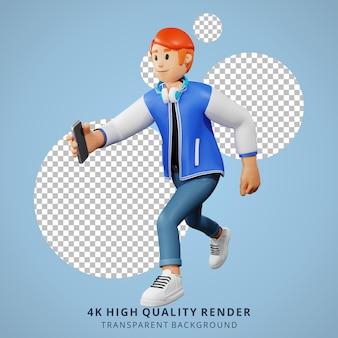 Молодые люди с красными волосами, бегущие с 3d-иллюстрацией персонажей