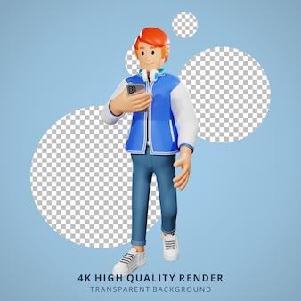 Молодые люди с красными волосами ходят по 3d-иллюстрации персонажей с телефоном