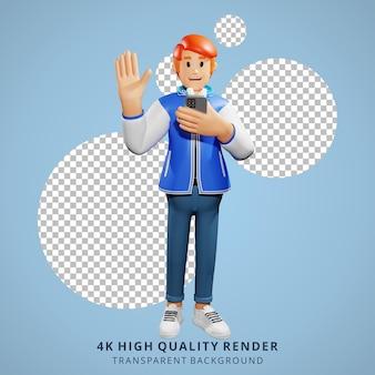 Красные волосы молодые люди машут руками 3d персонаж иллюстрации