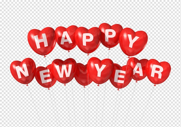Red happy new year heart shaped balloons isolated on white