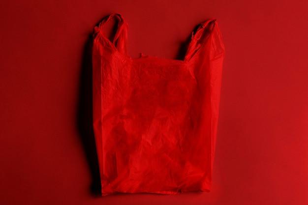 赤い危険なビニール袋のデザイン