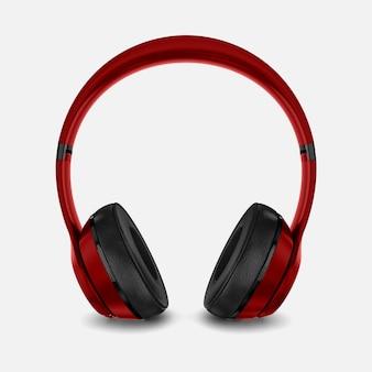 Red headphone mockup