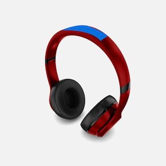 Red headphone mockup
