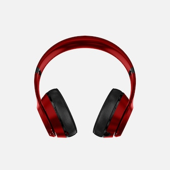 Red headphones mockup
