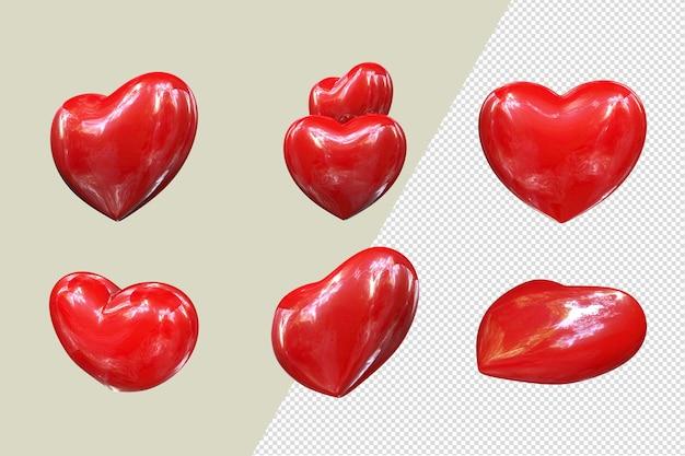Красные сердечки в разных позициях psd файл