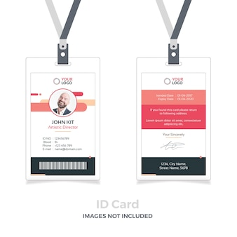 Red id card mockup with ribbon