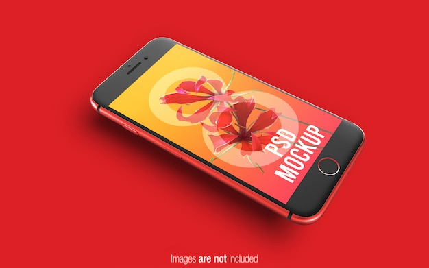 Red iphone 8 psd mockup perspective mockup
