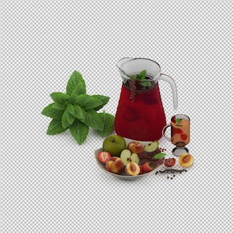 Red juice with fruits 3d render