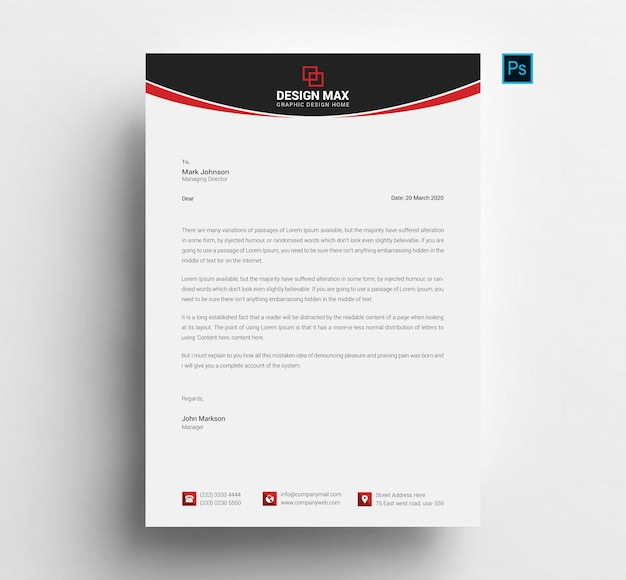 Red letterhead template