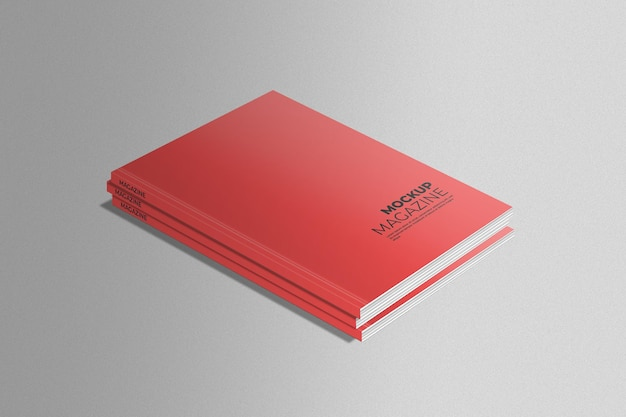 Red magazine mockup on gray