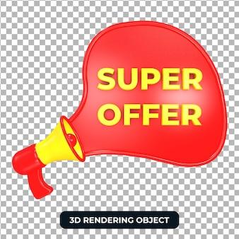 Красный мегафон с супер-предложением 3d визуализации изолированы