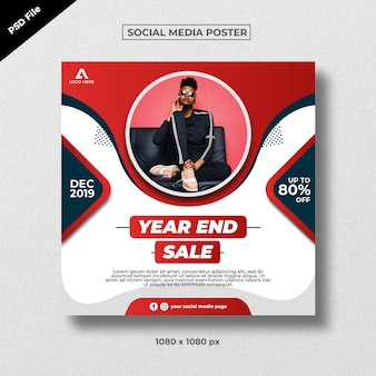 Red modern creative sale poster for social media