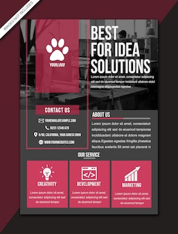 Red modern flyer brochure poster  - a3 size