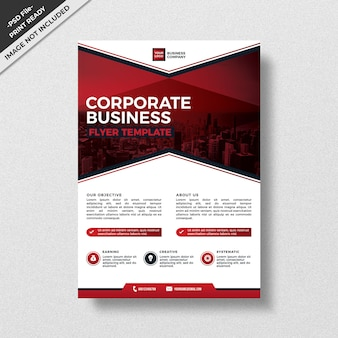 Red modern style corporate business flyer template,
