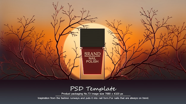 Red nail polish product on red trees background 3d render