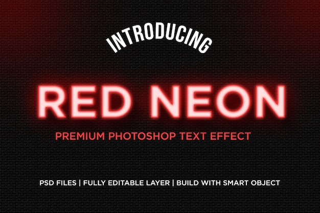 Red neon text style effect