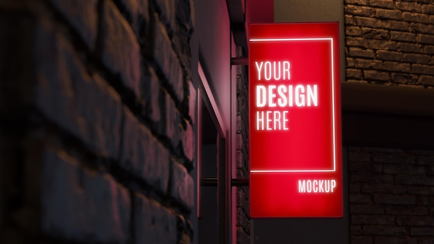 Red nighttime business sign mock-up