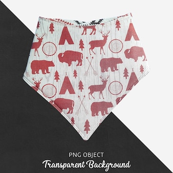Red patterned bandana for baby or children's on transparent background