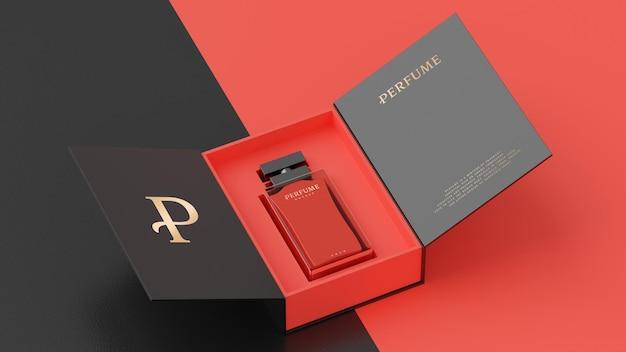 Красный флакон духов черная упаковка макет для презентации фирменного стиля 3d визуализации