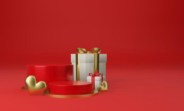 마음과 선물 상자가있는 빨간 연단 플랫폼
