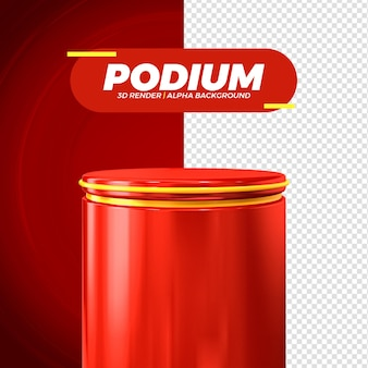 Red podium stage isolated for composition 3d render premium psd