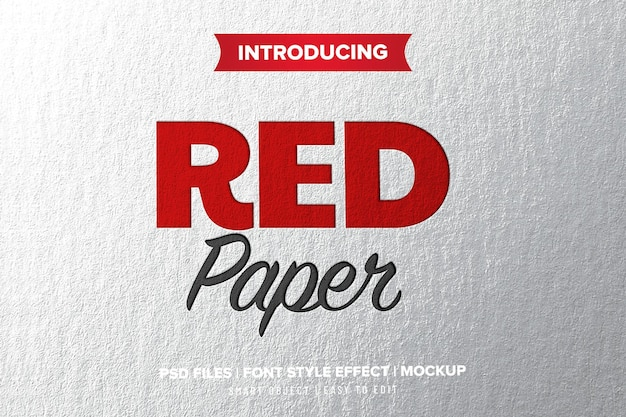 Red press paper text effect