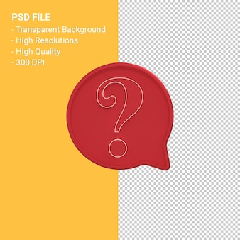 Red question mark notification 3d icon isolated