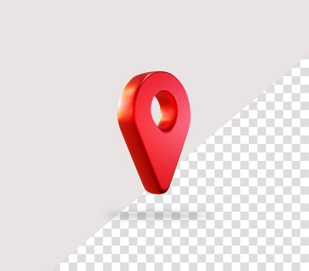 빨간색 현실적인 3d 지도 핀 위치 아이콘