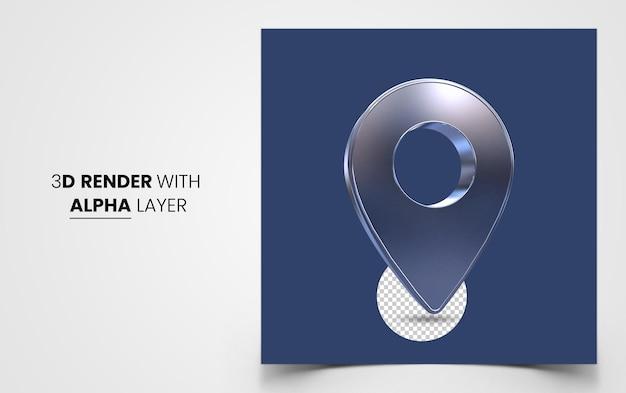 빨간색 현실적인 3d 지도 핀 포인터 아이콘 절연