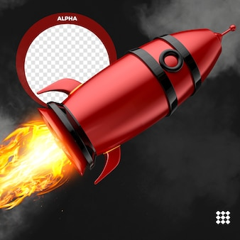 Red render rocket with fire isolated