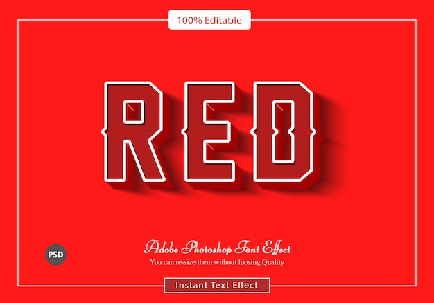 Red retro font effect psd file