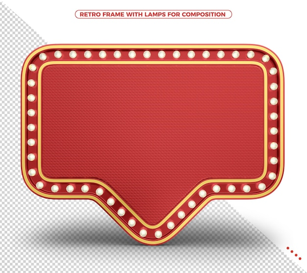 Red retro lights frame with realistic texture