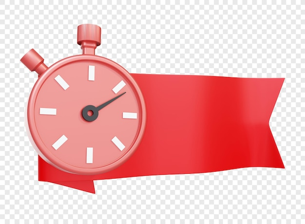 Red ribbons or badge with timer or stopwatch isolated