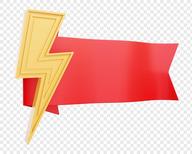 雷または落雷が分離された赤いリボンまたはバッジ