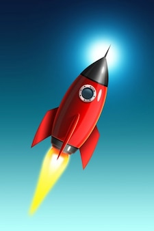 Red rocket icon flying in the sky psd