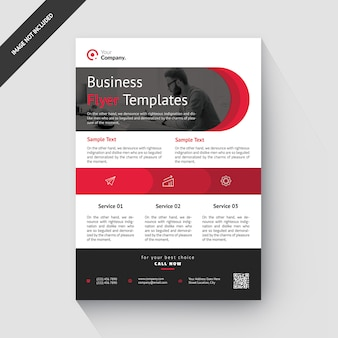 Red rounded corporate flyer template