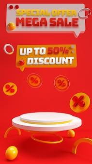 ディスカウントセール商品の広告とブランドアイデンティティのための赤いルビー3d編集可能な表彰台